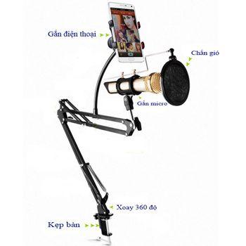 Chân đế kẹp bàn gắn mic thu âm N42