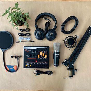 Combo micro thu âm PC K600 Soundcard V11 Chân màn kẹp Full