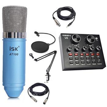 Combo mic ISK AT100 Soundcard V8 chân kẹp màn lọc trọn bộ