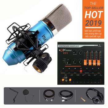 Combo mic ISK AT100 Soundcard V11 Dây Chân màn kẹp