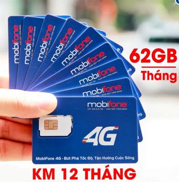 Sim 4G Mobifone khuyến mãi 62GB Data mỗi tháng