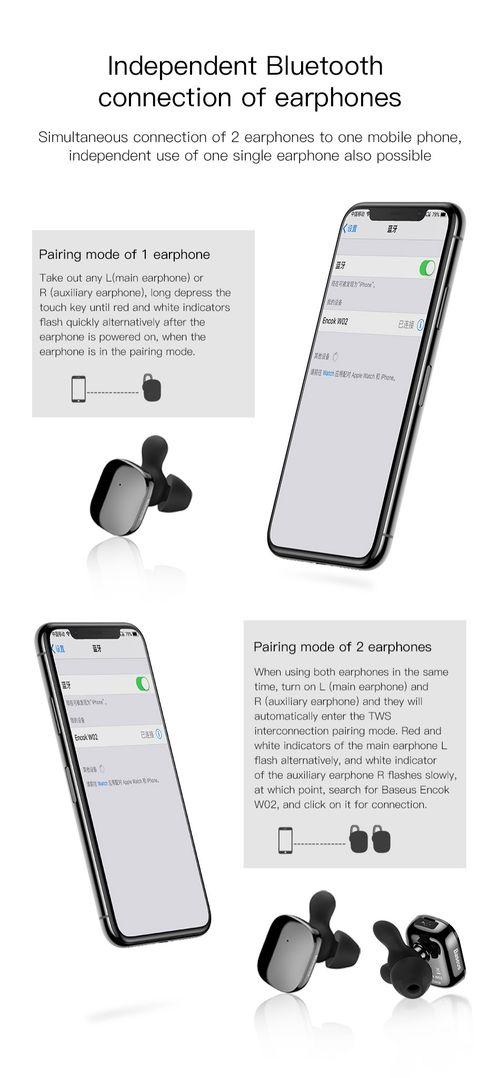 Tai nghe Bluetooth cảm ứng chạm Baseus Encock W02 Touch Earphone