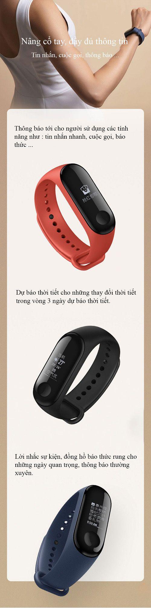 CHÍNH HÃNG Xiaomi Mi band 3 Tiếng Việt - Tặng kèm dán cường lực