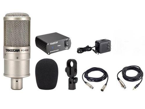 Micro Thu Âm Takstar PC K200 kèm nguồn 48V - 2 dây XLR