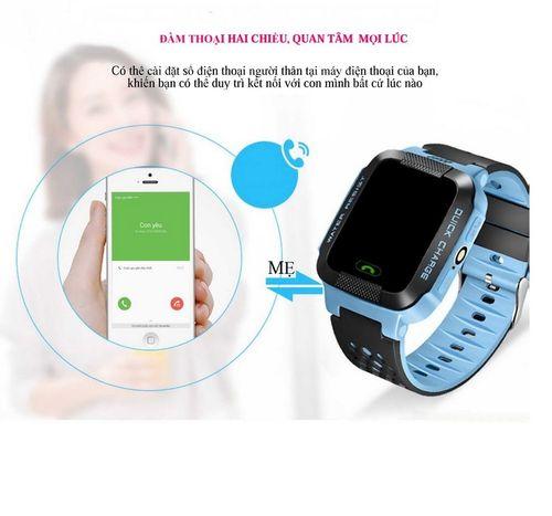 Đồng hồ định vị trẻ em E5 GPS (Hỗ trợ tiếng Việt) - Hot 2019 (Xanh - Tím)