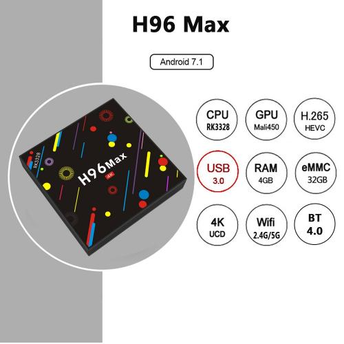 Android TV Box H96 Max H2 ram 4Gb - 32GB Rom - Android 8.0
