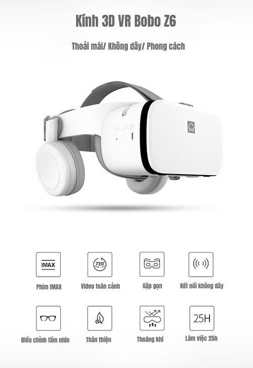 Kính thực tế ảo Bobo VR Z6 - 2019 Innovation VR Headset - Tai nghe kết nối Bluetooth