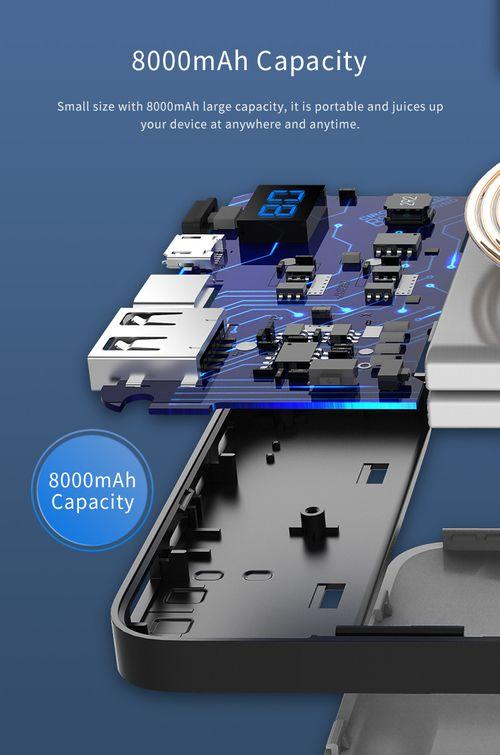 Pin dự phòng kiêm sạc không dây Rock space P39 8000 mAh