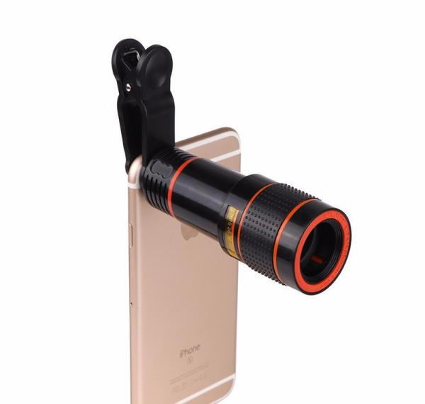 Len cho điện thoại zoom tele 12X - Mẫu kẹp trực tiếp