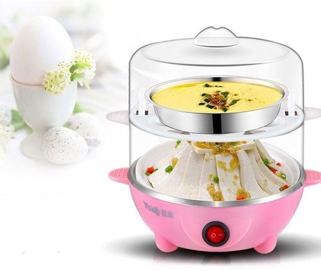 Nồi hấp trứng đa năng mini inox 2 tầng Cooker