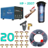Bộ phun sương 20 đầu phun - Bơm Hawin HP 2807 lọc rác 20M dây