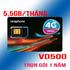 Sim 4G Vinaphone D500 trọn gói