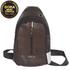 Túi đeo chéo Jingpin da bò màu nâu chống xước đi mưa No TA2535